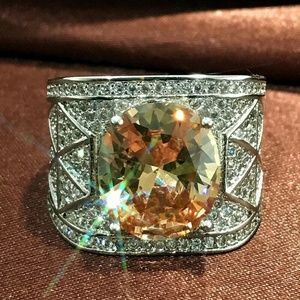 Citrine Oval Cut Silver Luxury Ring